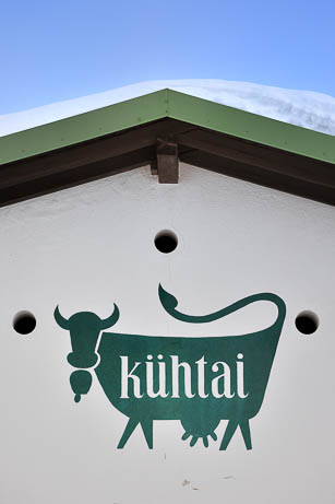 the cow symbol on top of Jagdschloss Hotel of Count Stolberg - Kühtai, Austria